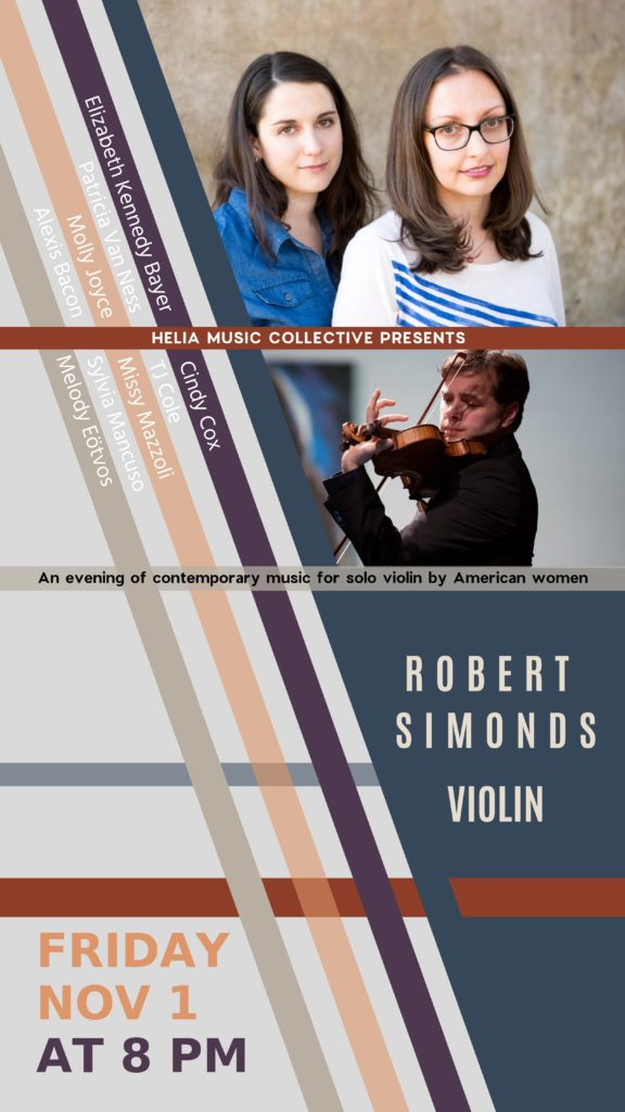 Solo Violin music by American Women composers - Friday, November 1 at 8 pm