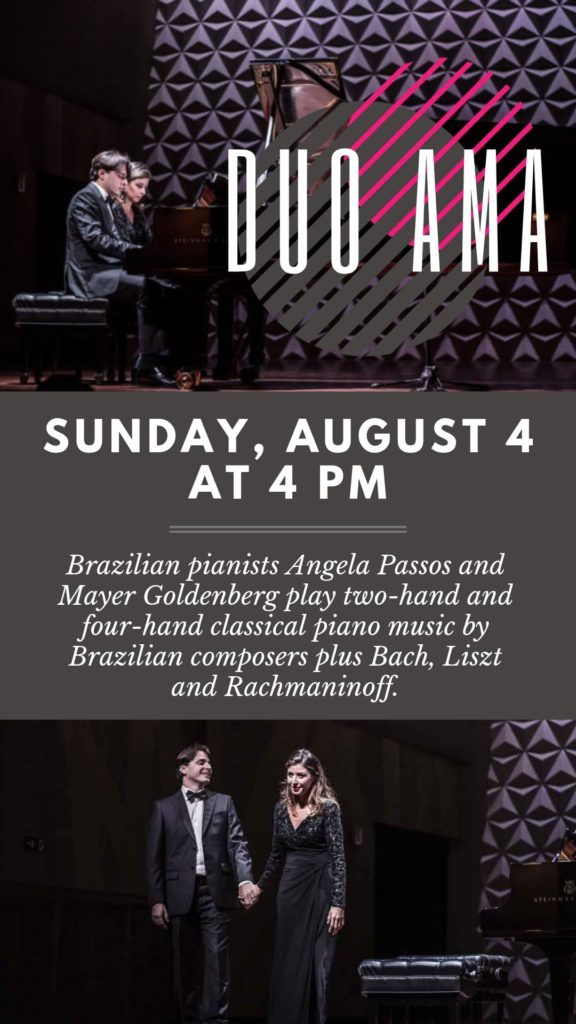 Duo AMA Brazilian pianists - Sunday, August 4 at 4 pm
