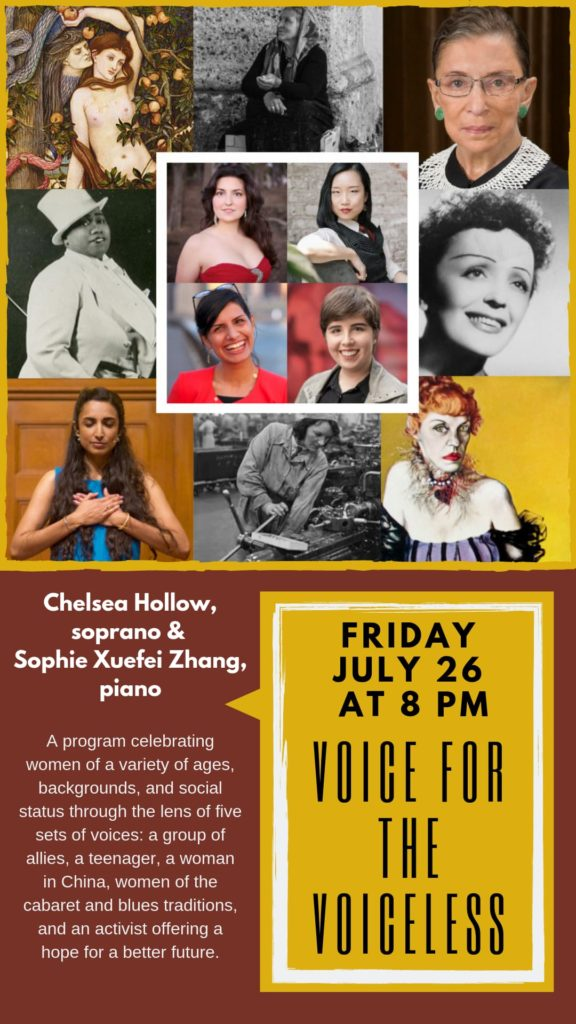 Voice for the Voiceless with Soprano Chelsea Hollow - Friday, July 26 at 8 pm