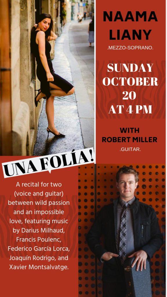 Naama Liany presents Una Folia - Sunday, October 20 at 4 pm