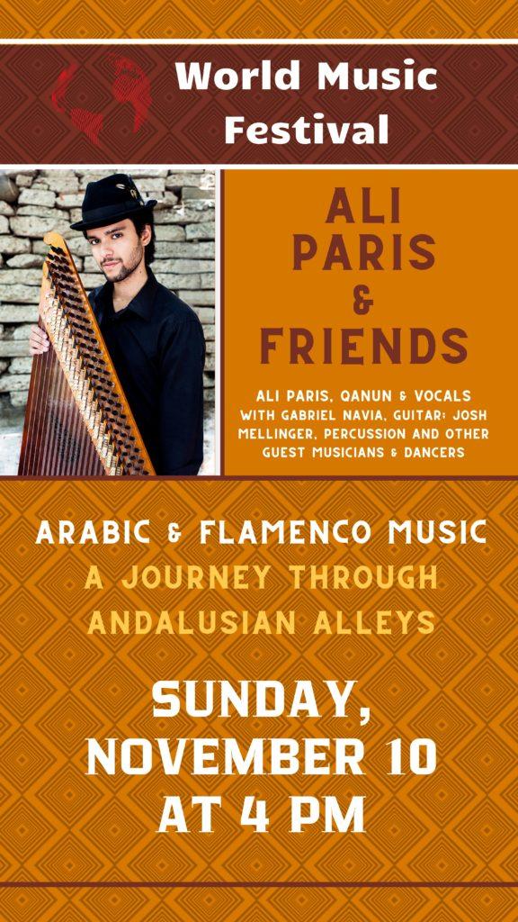 Ali Paris plays Flamenco and Arabic Music - Sunday, November 10 at 4 pm